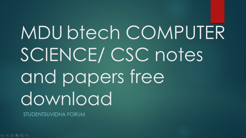 studentsuvidha - computer science mdu btech papers and Notes
